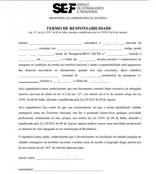 Carta De Convite Para Entrar Em Portugal