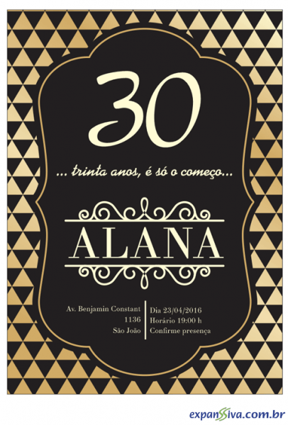 Convite De 30 Anos Preto Com Triângulos E Letra Clássica