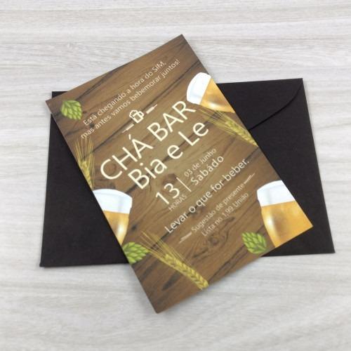Convite Chá Bar Com Envelope Simples Na Rededots Com Br