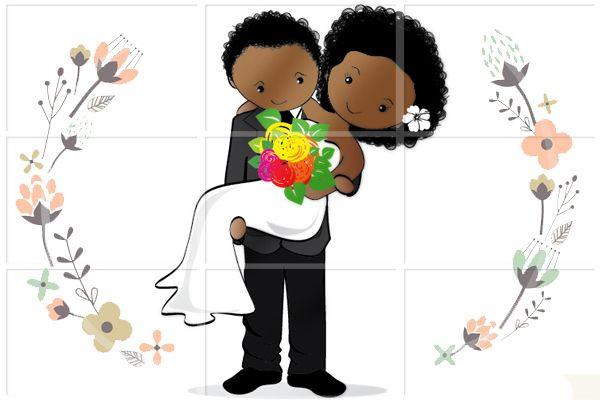 Casal De Noivinhos Negros Para Personalização De Lembranças De