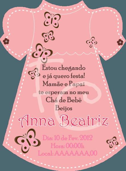 Convite Cha De Bebe Formato Vestido