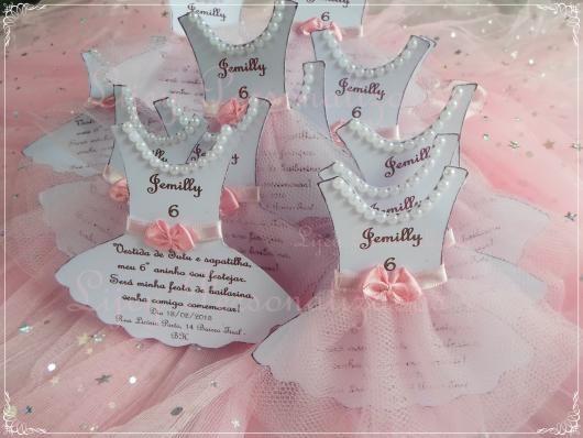 Convites Bailarina Vestido Rosa E Branco
