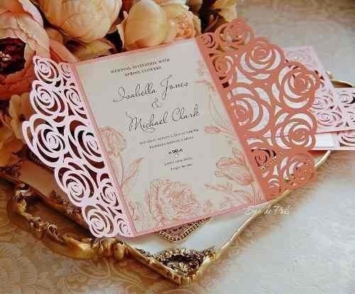 Ak54 Arquivo Convite Rendado Silhouette Casamento Rosas