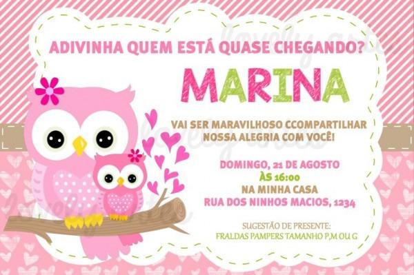 Arte Convite Digital Corujinha