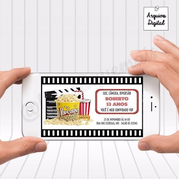 Arte Convite Digital Festa Cinema Para Whatsapp