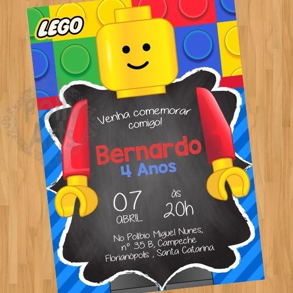Arte Convite Digital Virtual Lego Bloquinhos Brinquedo