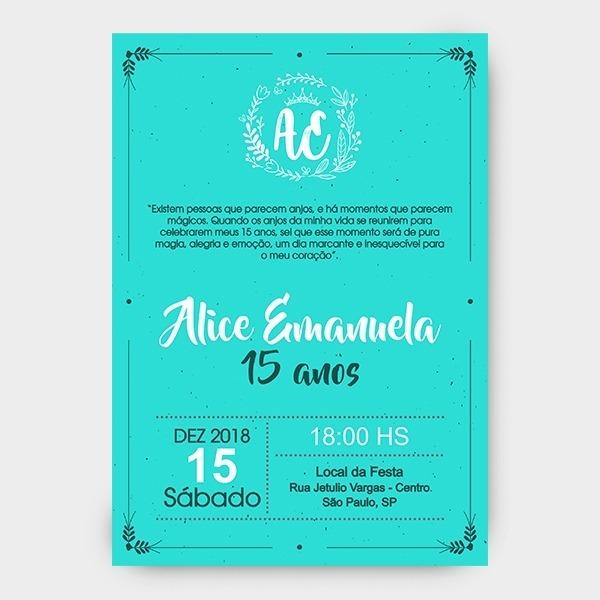 Arte Digital Convite 15 Anos Azul Tifanny