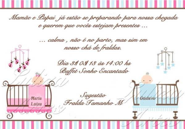 As Melhores Ideias De Convite Para Cha De Bebe Gemeos Casal