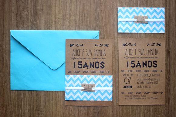 Festa De 15 Anos + Convite Azul E Craft
