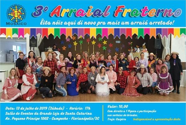 Convite  3º Arraial Fraterno Mosaico