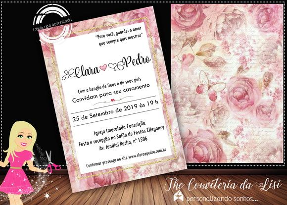 Convite Casamento Rose No Elo7
