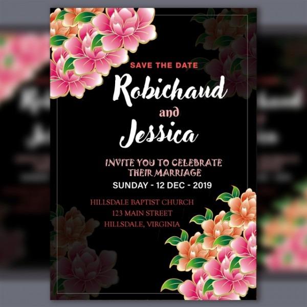 Convite De Casamento Modelo Preto Com Flor Rosa Psd File Modelo