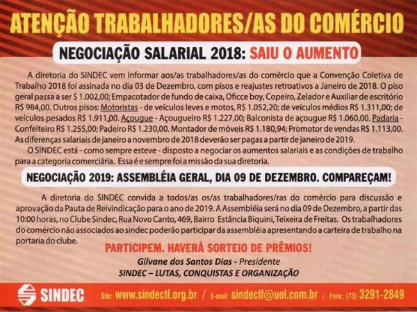 Campanha Salarial 2019 – Comunicado E Convite Aos As Trabalhadores
