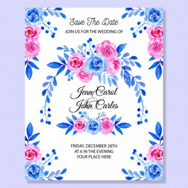 Cartão De Convite De Casamento Com Aquarela Floral Azul E Rosa