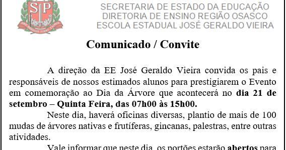 E E  Pei José Geraldo Vieira  Comunicado
