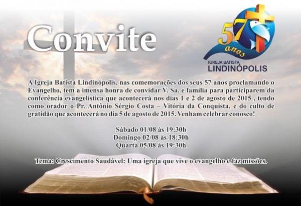Convite Da Igreja Batista LindinÓpolis