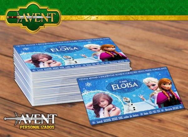 Convite 10x7 Com Envelope Frozen