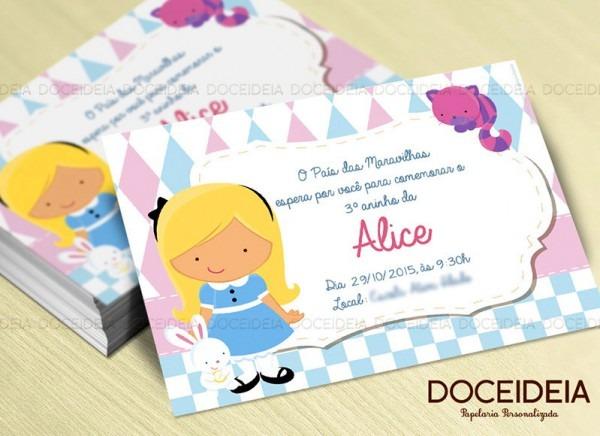 Convite Alice No País Das Maravilhas No Elo7