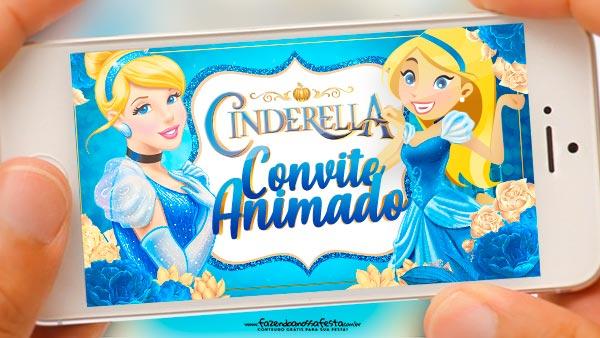 Convite Animado Cinderella Grátis Para Baixar E Editar