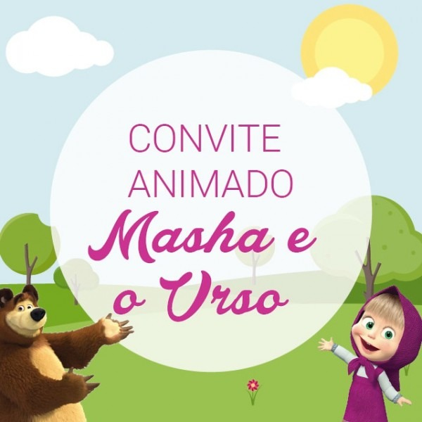 Convite Animado Masha E O Urso No Elo7
