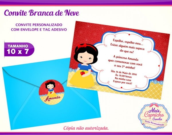 Convite Aniversário Branca De Neve No Elo7