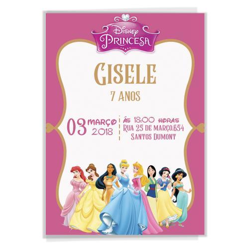 Convite Aniversário Infantil Princesa Disney