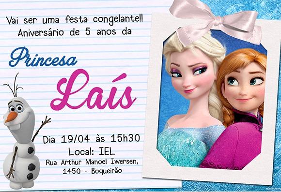 Convite Aniversário + Tag Frozen No Elo7