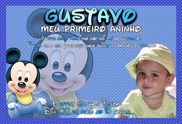 Convite Baby Disney No Elo7