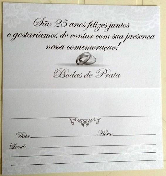Convite Bodas Prata Cinza Claro 16,5cm X 9cm (60 Convites)