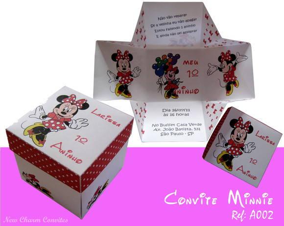 Convite Caixinha Minnie Vermelha No Elo7