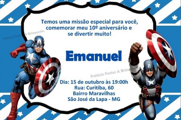 Convite Capitão America No Elo7