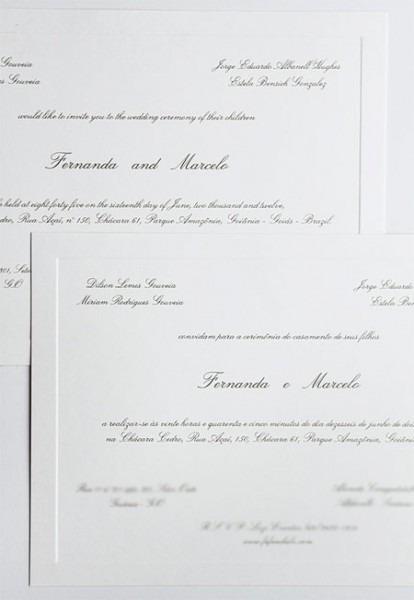 Convite De Casamento Bilíngue