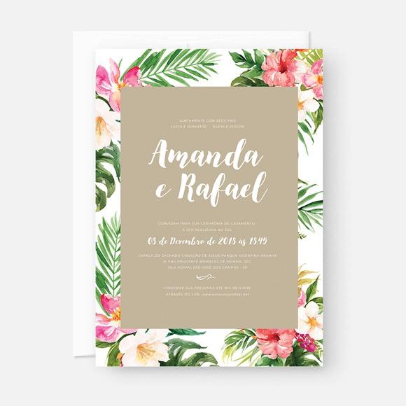 Convite Digital Casamento Tropical No Elo7