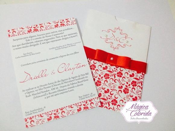 Convite Casamento Vermelho E Branco