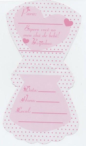 Convite Cha Bebe Vestido Rosa Branco (10 Convites)