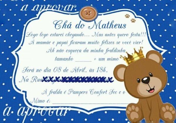 Convite Cha De Bebe Azul Luxo