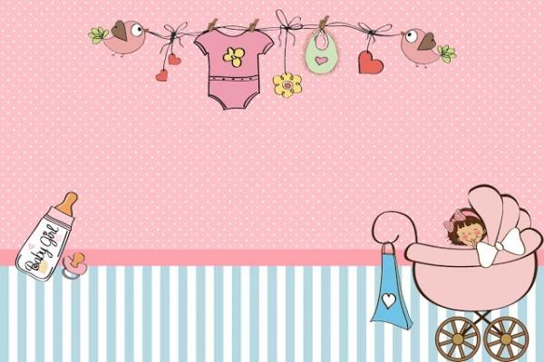 Convite Chá De Bebê Menina Digital No Elo7