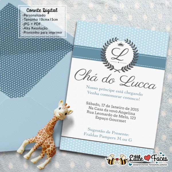 Convite Chá De Bebê Provençal Príncipe Para Imprimir