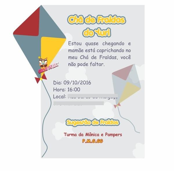 Convite Chá De Fraldas Pipa No Elo7