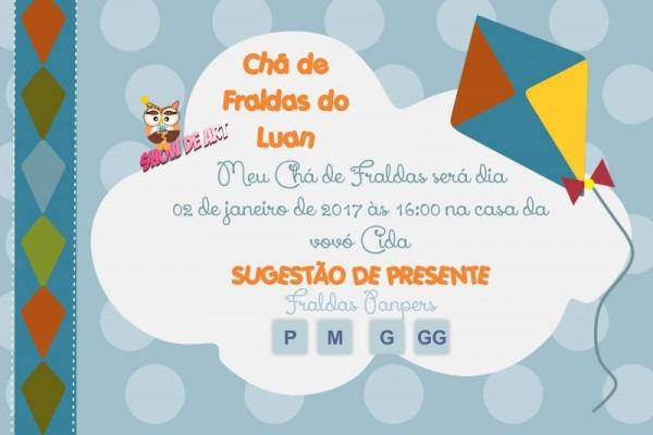 Convite Chá De Fraldas Pipas No Elo7