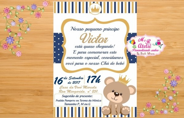 Convite Chá De Fraldas Urso Príncipe No Elo7