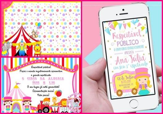 Convite Circo  35 Modelos Sensacionais Para Sua Festa!