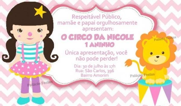 Convite Circo Menina No Elo7