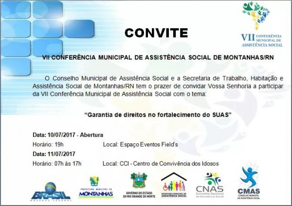 Convite Para A Vii ConferÊncia Municipal De AssistÊncia Social