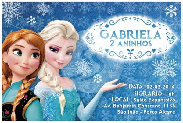 Convite Aniversário Frozen