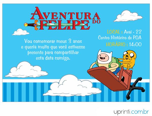 Convites Infantis Para Hora De Aventura M12517