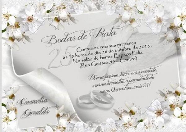 Convite De Bodas De Prata Artesanal – Modelos De Convite