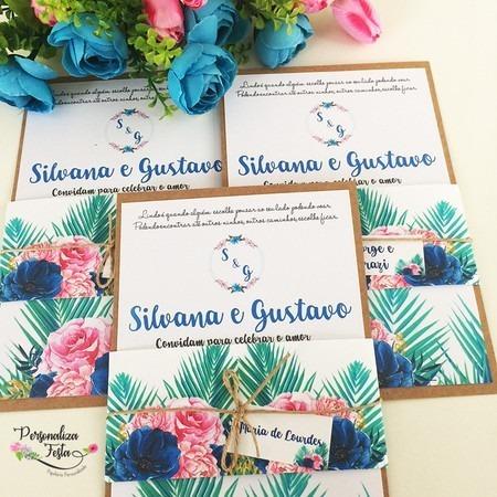 Convite De Casamento Barato Rústico Tropical