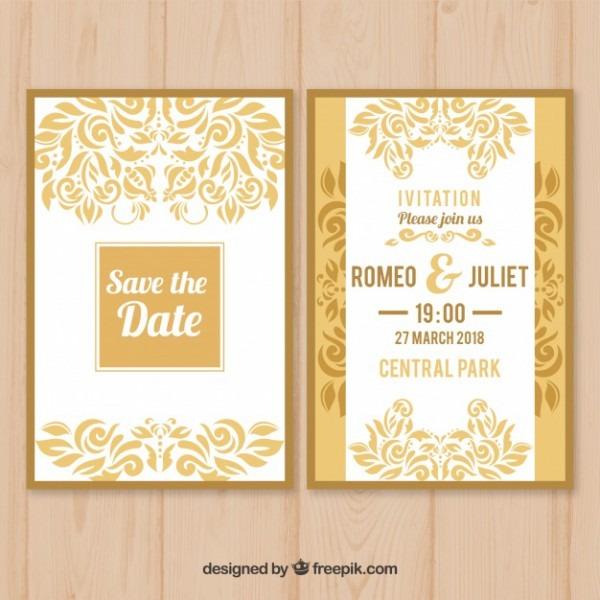 Convite De Casamento Branco E Amarelo Plano