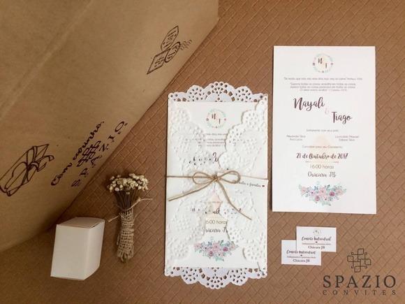 Convite De Casamento Com Papel Rendado